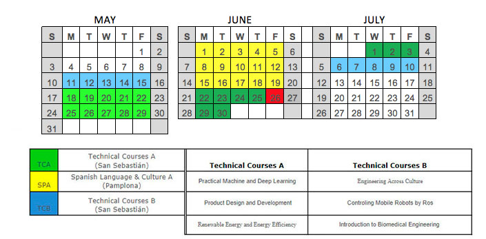 Calendar of Summer Courses